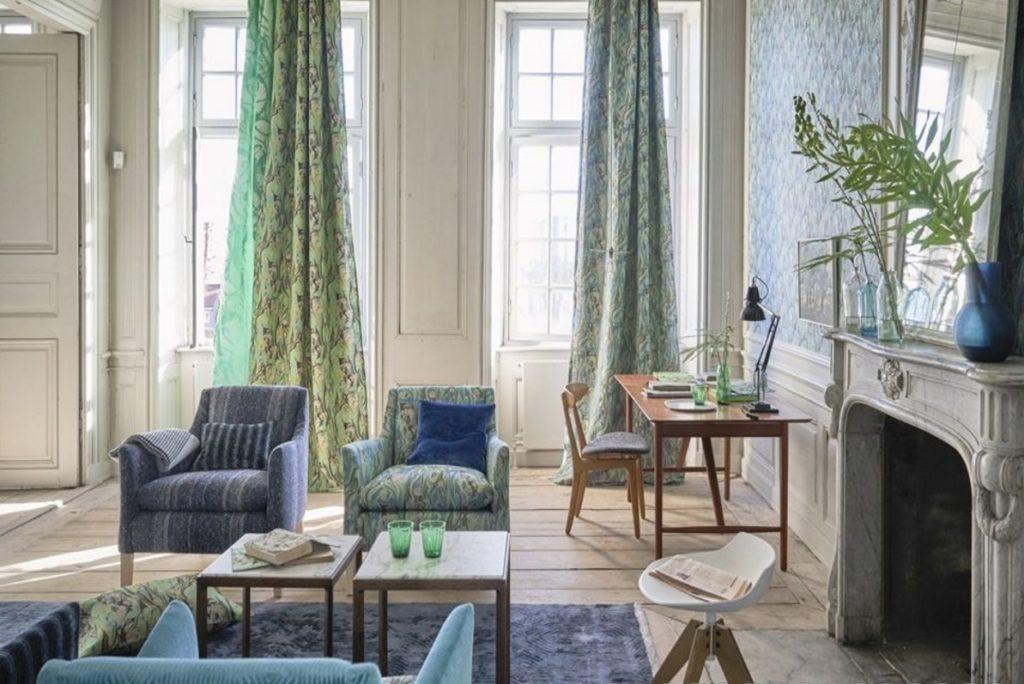Bytový textil s přírodním vzorem v zelené barvě
