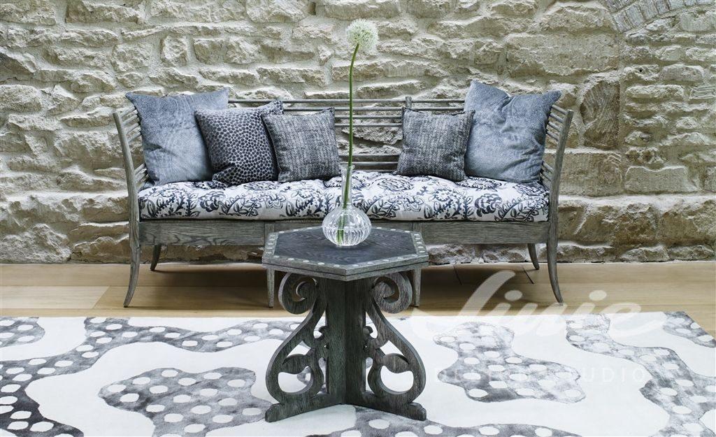 Moderní bytový textil v modro šedých odstínech