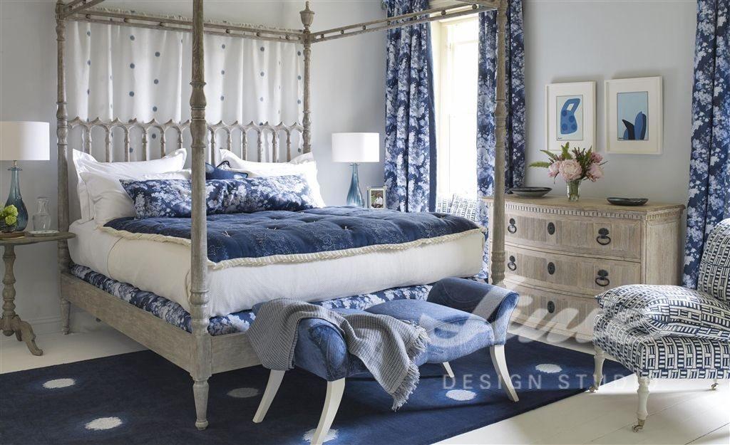 Moderní bytový textil v modrých tónech
