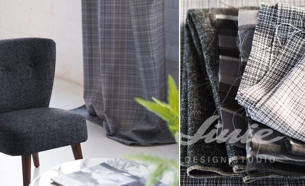 Moderní bytový textil v tmavých barvách se vzorem