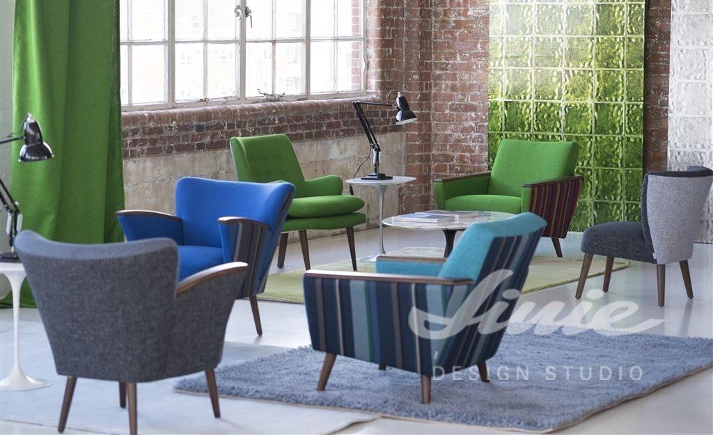 Moderní bytový textil v odstínech zelené a modré