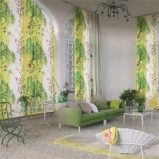 Moderná bytový textil s přírodním vzorem v zeleno žluté barvě