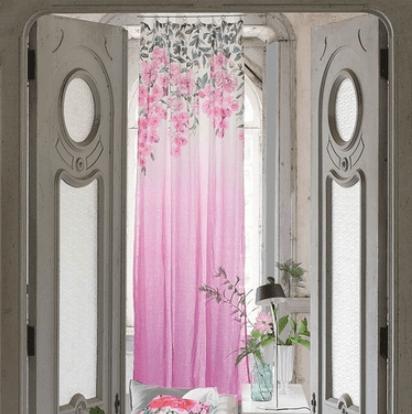 Moderní bytový textil s přírodním vzorem v růžové barvě