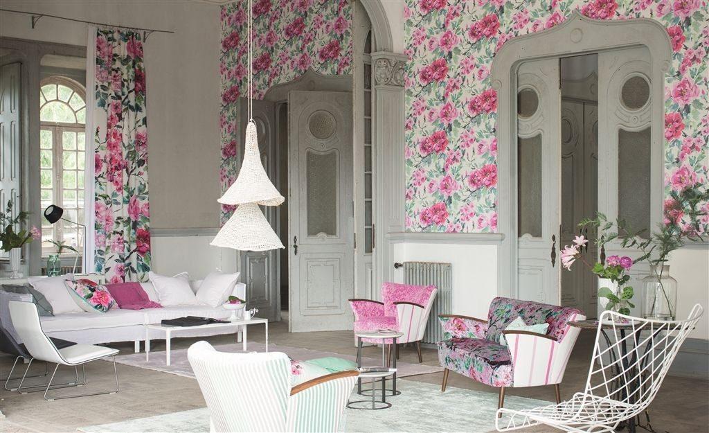 Moderní bytový textil v růžové barvě s přírodním vzorem