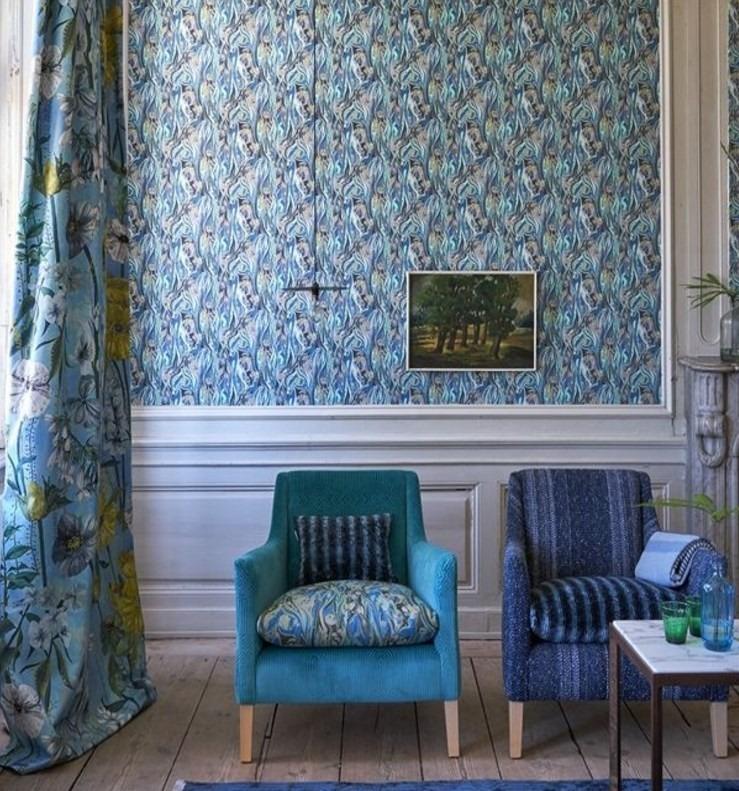 Moderní bytový textil v modrých odstínech