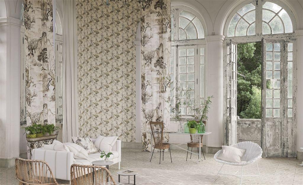 Moderní světlý bytový textil s přírodním motivem