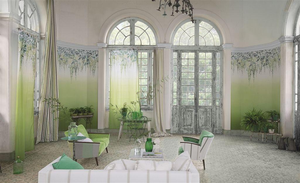 Moderní bytový textil v zelených odstínech s přírodním motivem