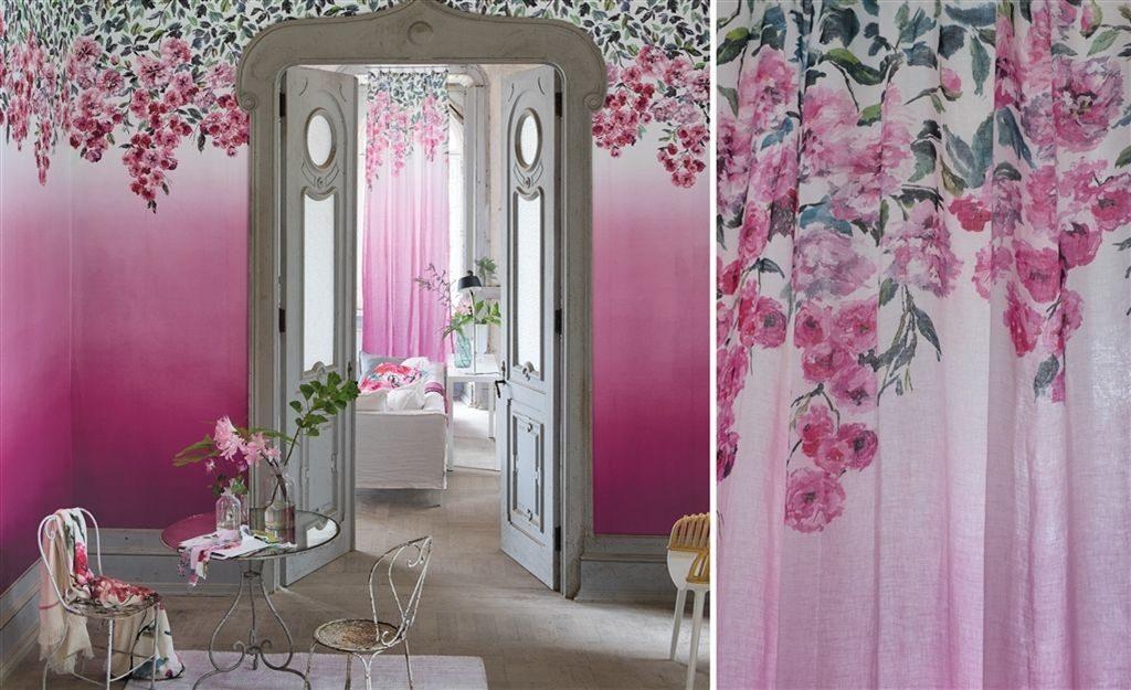Moderní bytový textil v růžových tónech s květinovým motivem