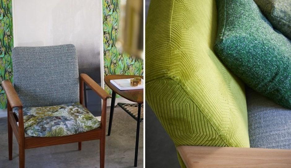 Moderní bytový textil v zelených odstínech