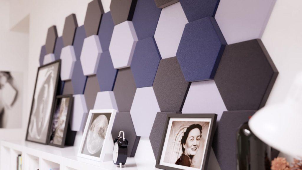 akustické molitanové dekorativní obklady na zeď hexagon