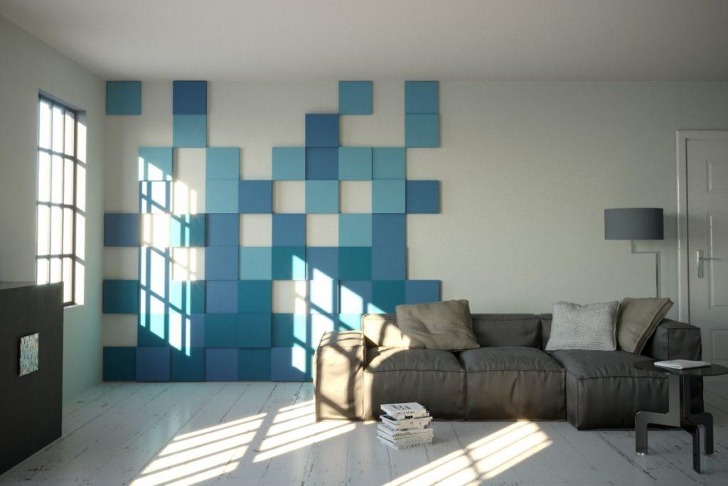 Modré akustické panely čtverce