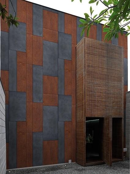 Exteriérová tapeta s geometrickými vzory
