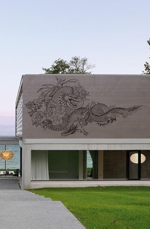Exteriérová tapeta s moderním vzorem draka