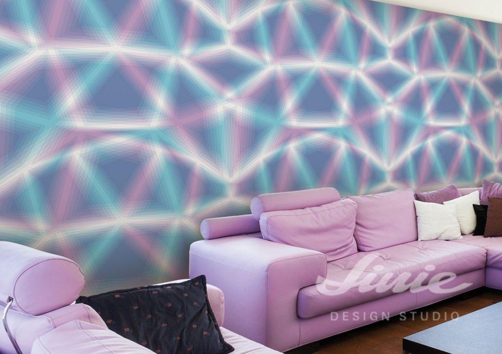 Fototapeta s futuristickým vzorema pohovka s polštářky