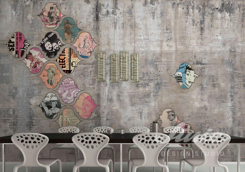 Fototapeta s motivem retro a jídelní stůl s židlemi