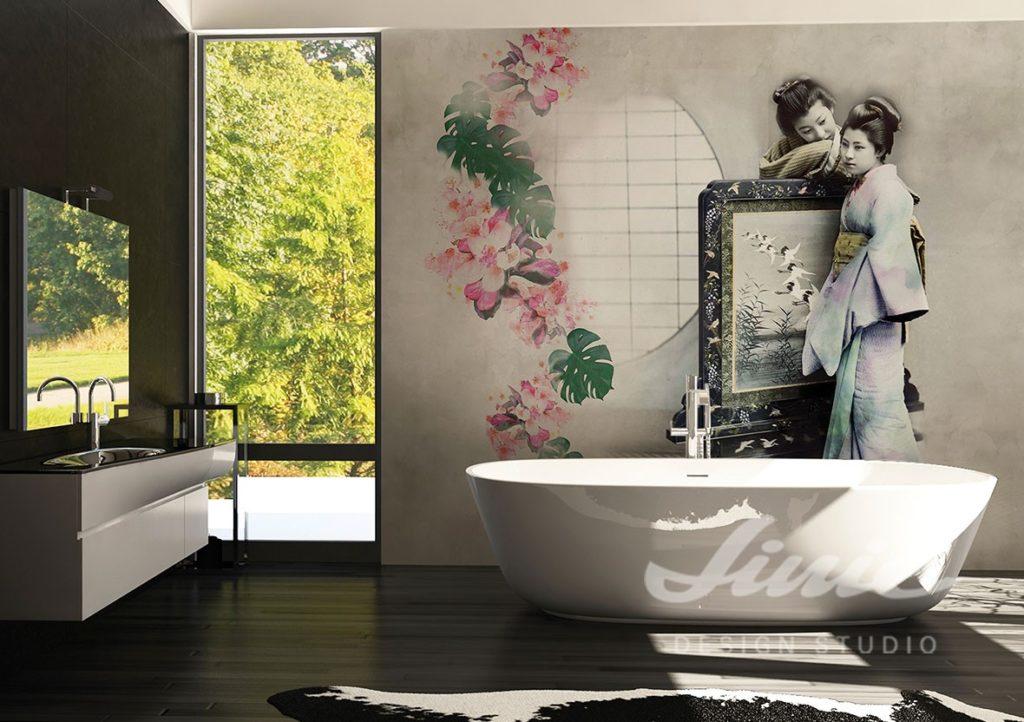 Fototapeta s historickým motivem v koupelně