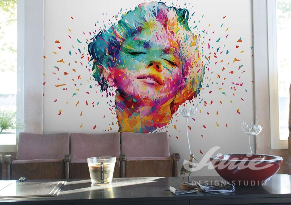 Nástěnná samolepka barevného obličeje v obývacím pokoji