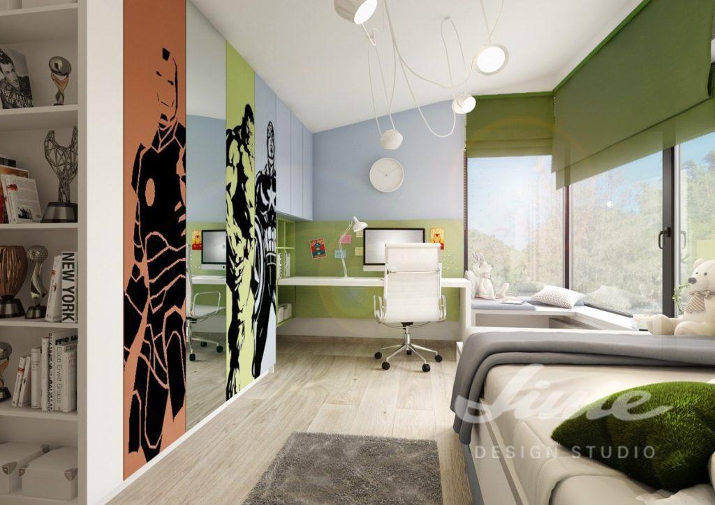Moderní dětský pokoj se zelenými a modrými prvky