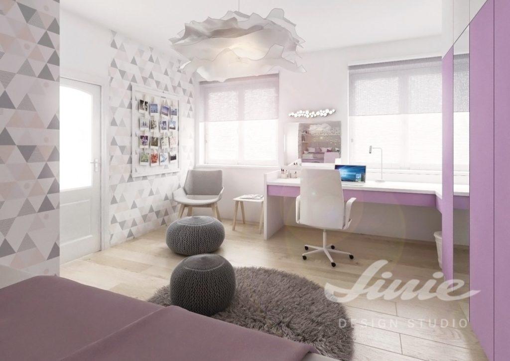 Moderní dívčí pokoj s šedými a fialovými prvky