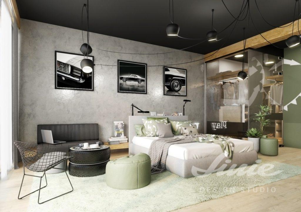 Moderní chlapecký pokoj s tmavě zelenými detaily