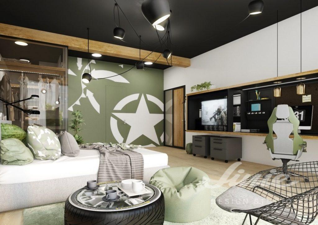 Moderní dětský pokoj s tmavě zelenými detaily