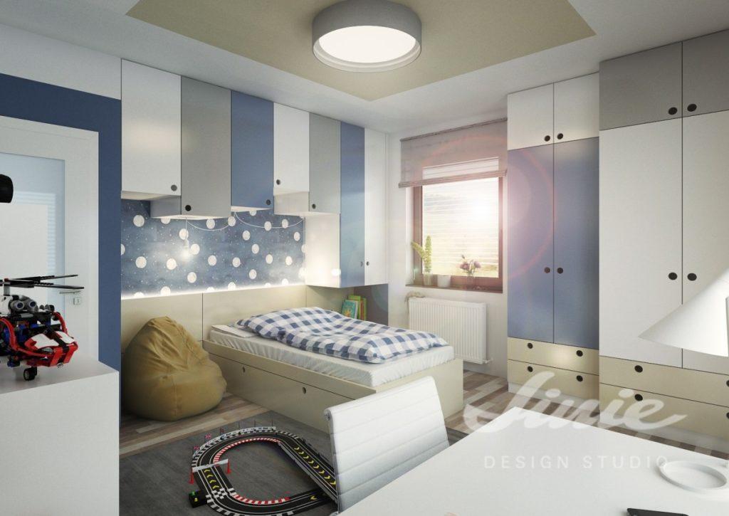 Moderní dětský pokoj s tmavě modrými detaily