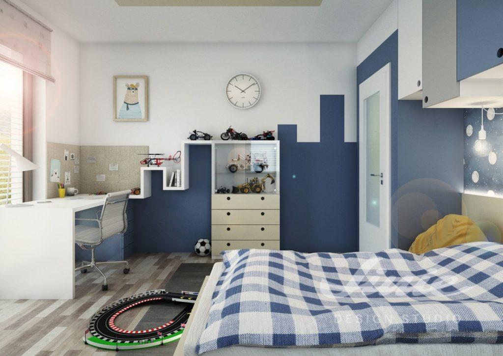 Moderní dětský pokoj s tmavě modrými prvky