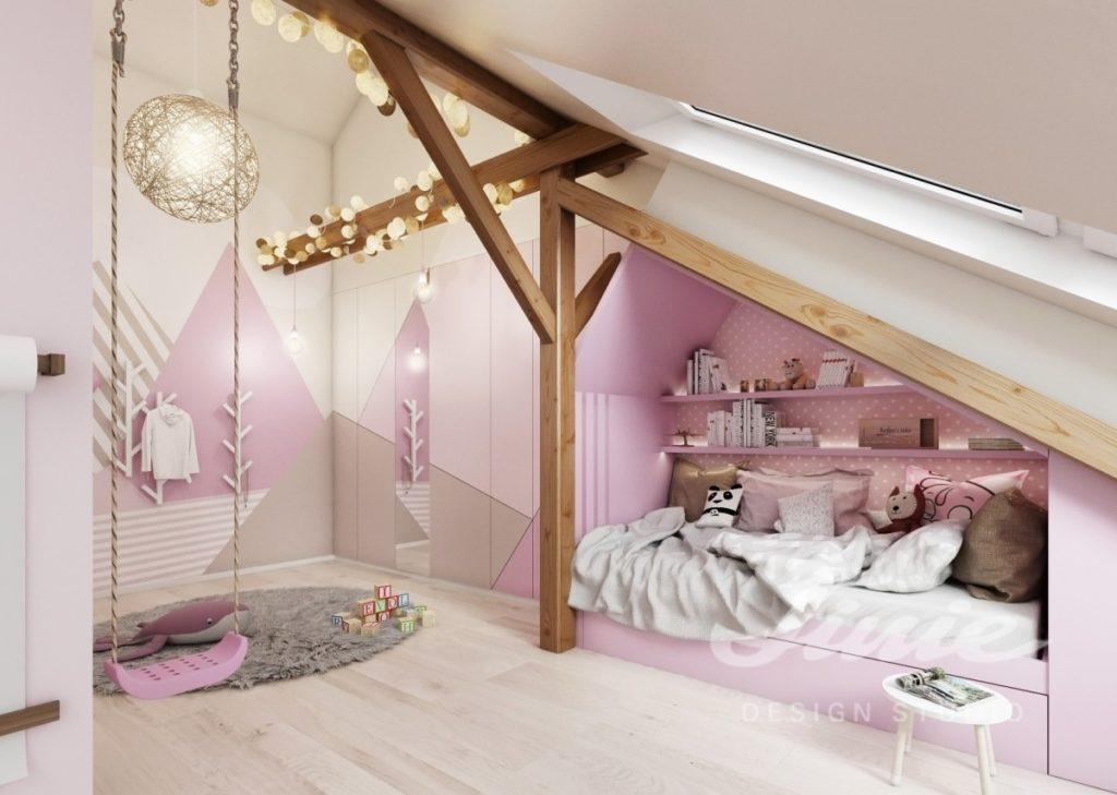 Moderní dětský pokoj s jemně růžovými detaily
