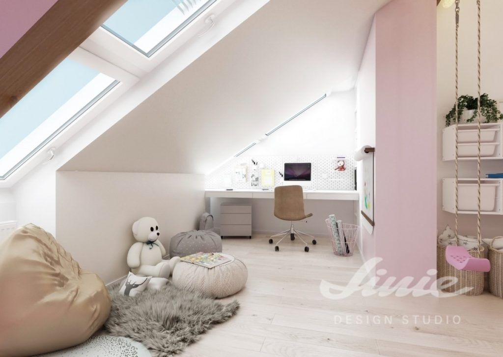 Moderní dětský pokoj s pastelově růžovými detaily