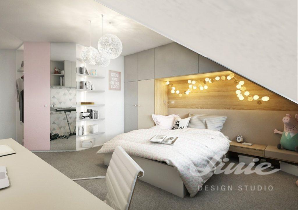 Moderní dětský pokoj s šedými a pastelově růžovými prvky