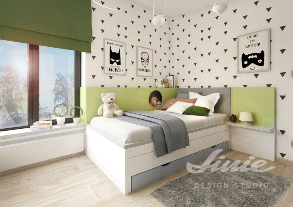 Moderní dětský pokoj s černobílými prvky