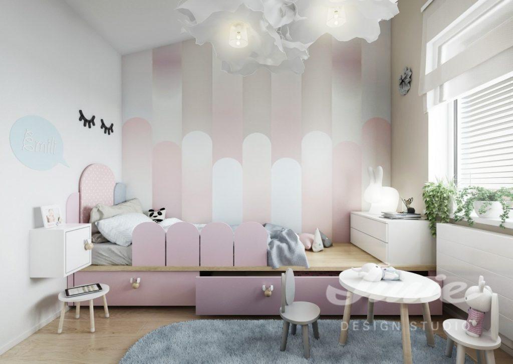 Moderní dětský pokoj ve světlém provedení s pastelovými detaily