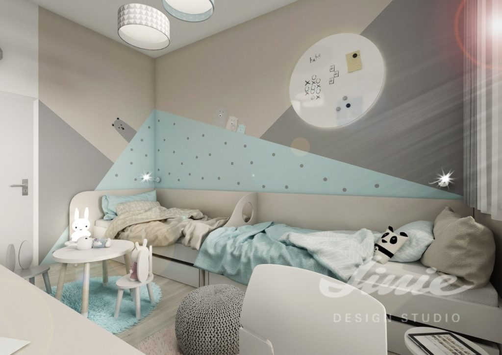 Dětský pokoj zařízený v moderním stylu s pastelově modrými prvky