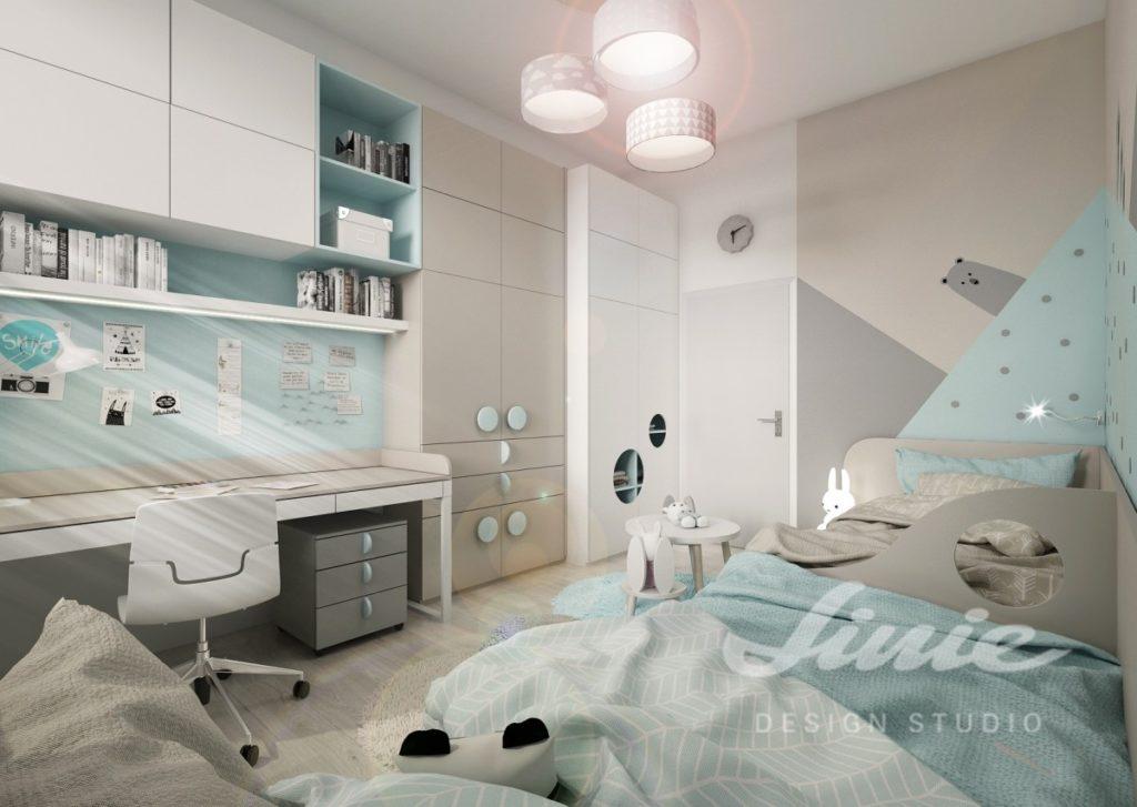 Dětský pokoj zařízený v moderním stylu s pastelově modrými detaily