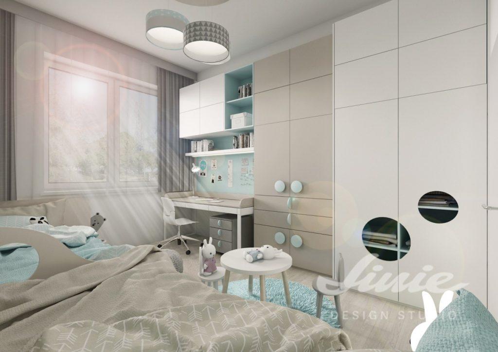Dětský pokoj zařízený v moderním stylu s modrými prvky