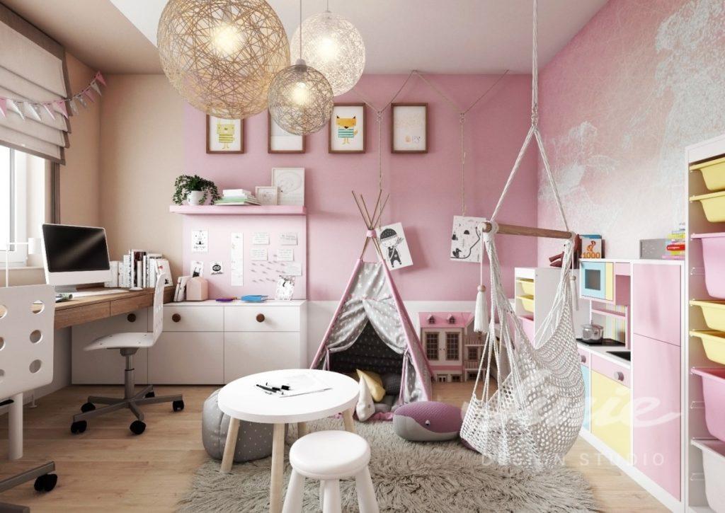 Moderní dívčí pokoj v jemně růžových tónech