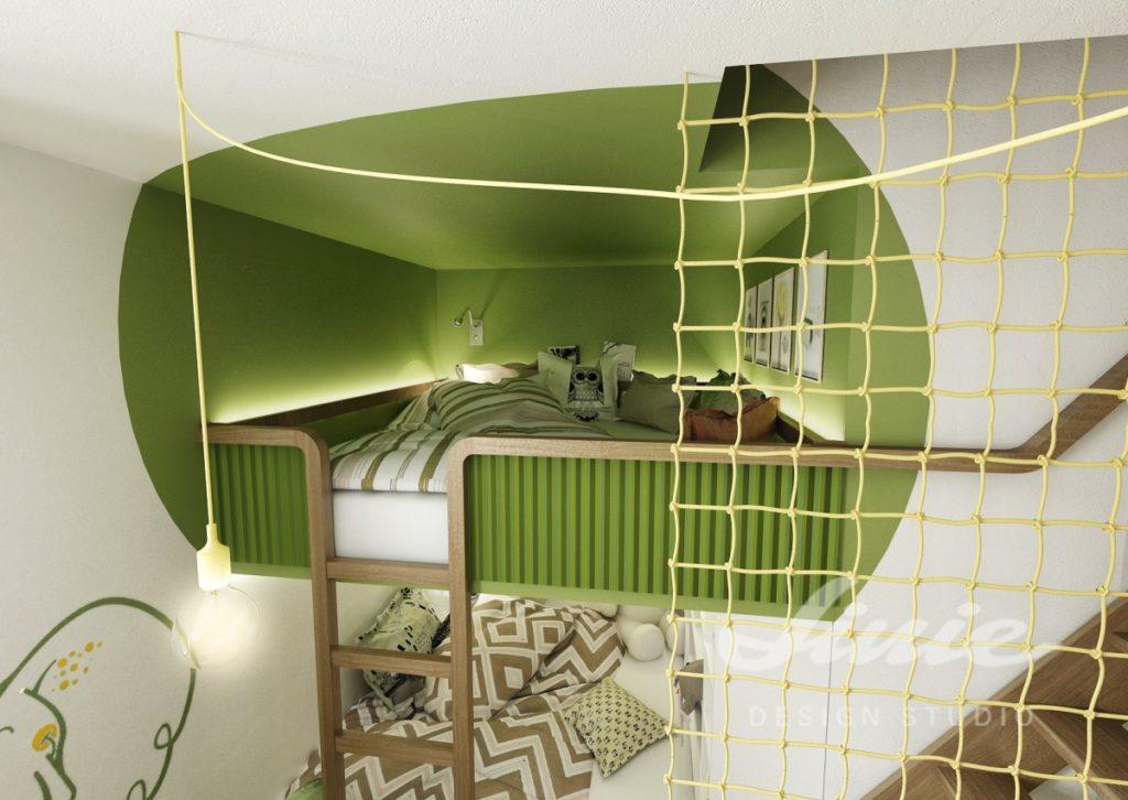 Dětský pokoj s osvětlenou postelí