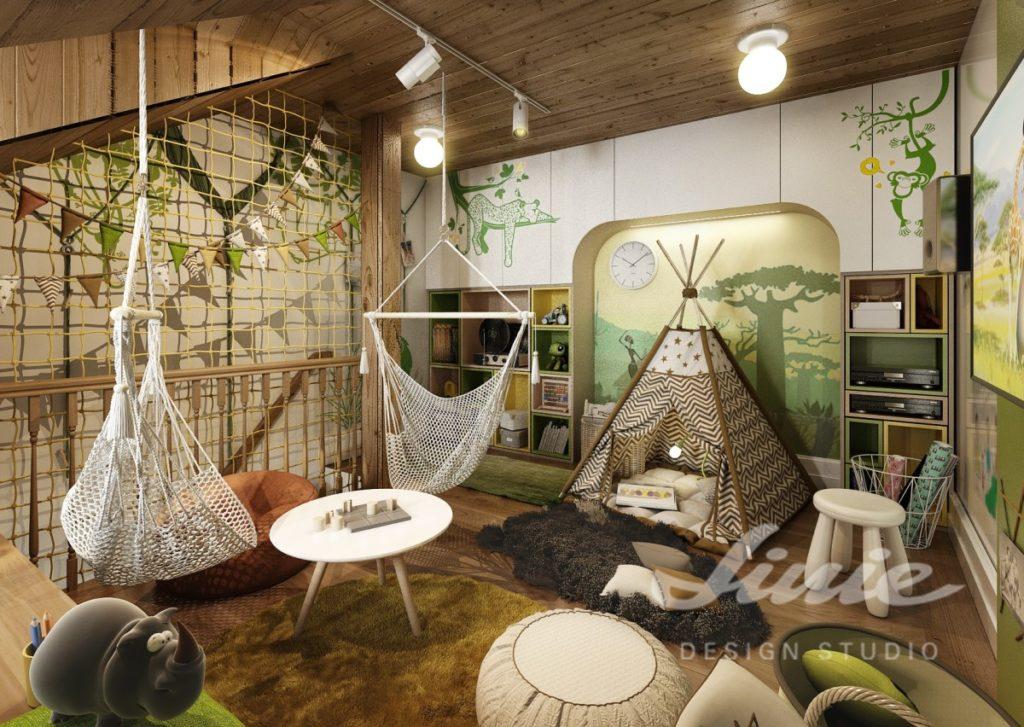 Dětský pokoj se stropem ze světlého dřeva a se zelenými prvky