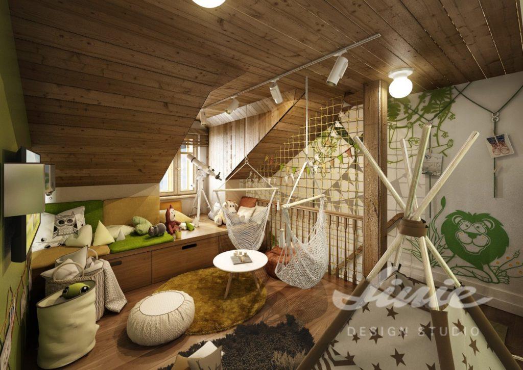 Dětský pokoj se stropem ze světlého dřeva