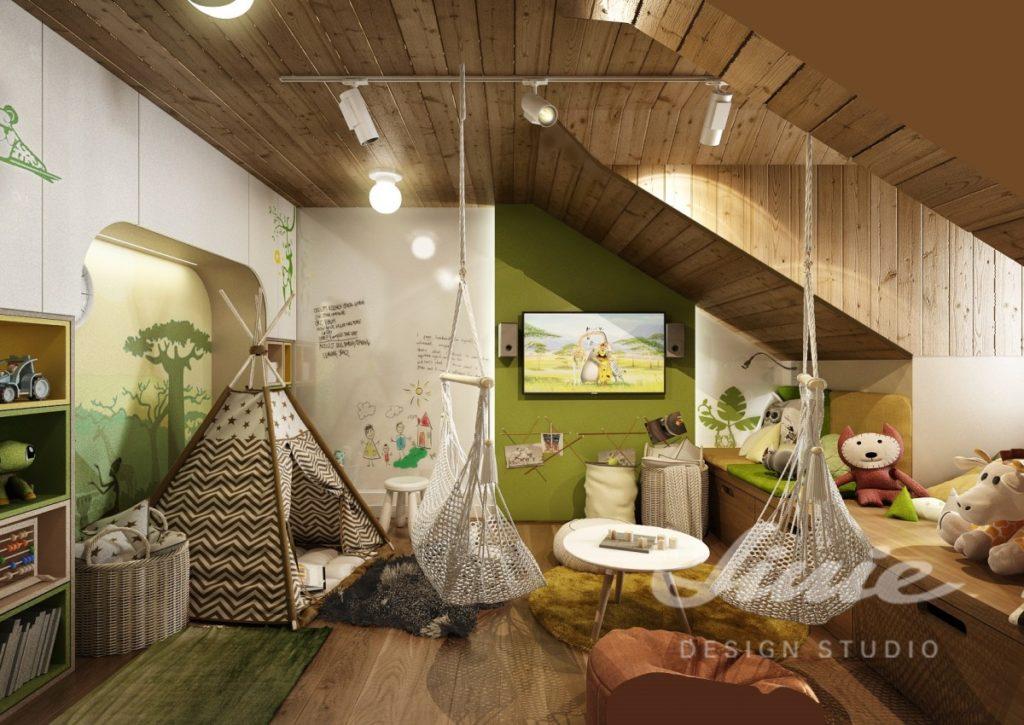 Dětský pokoj s dřevěným obložením