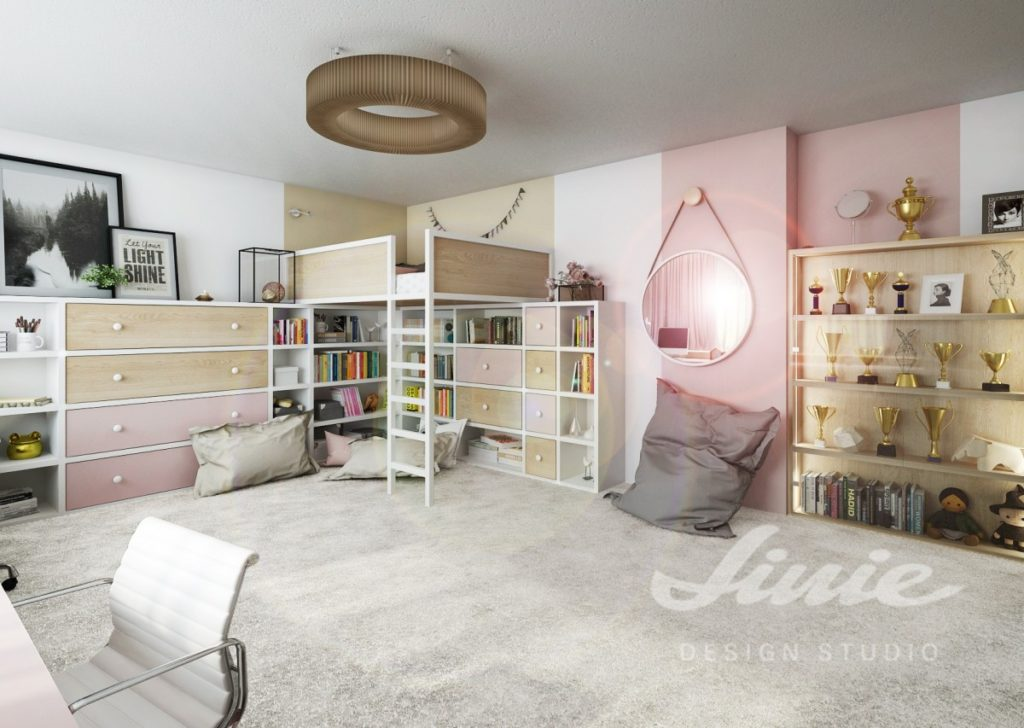 Studentský pokoj s béžovými a růžovými prvky
