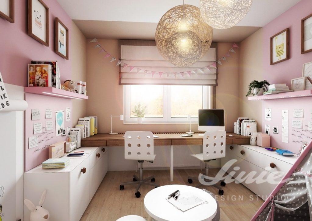 Moderní dívčí pokoj v růžových odstínech