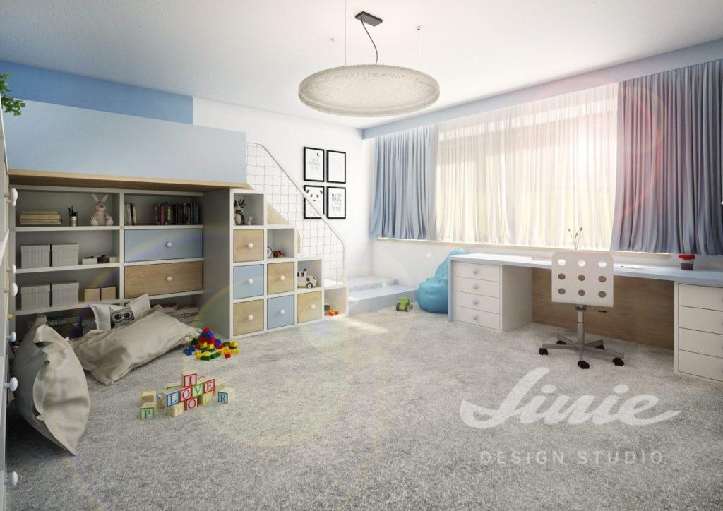 Dětský pokoj s pastelově modrými závěsy
