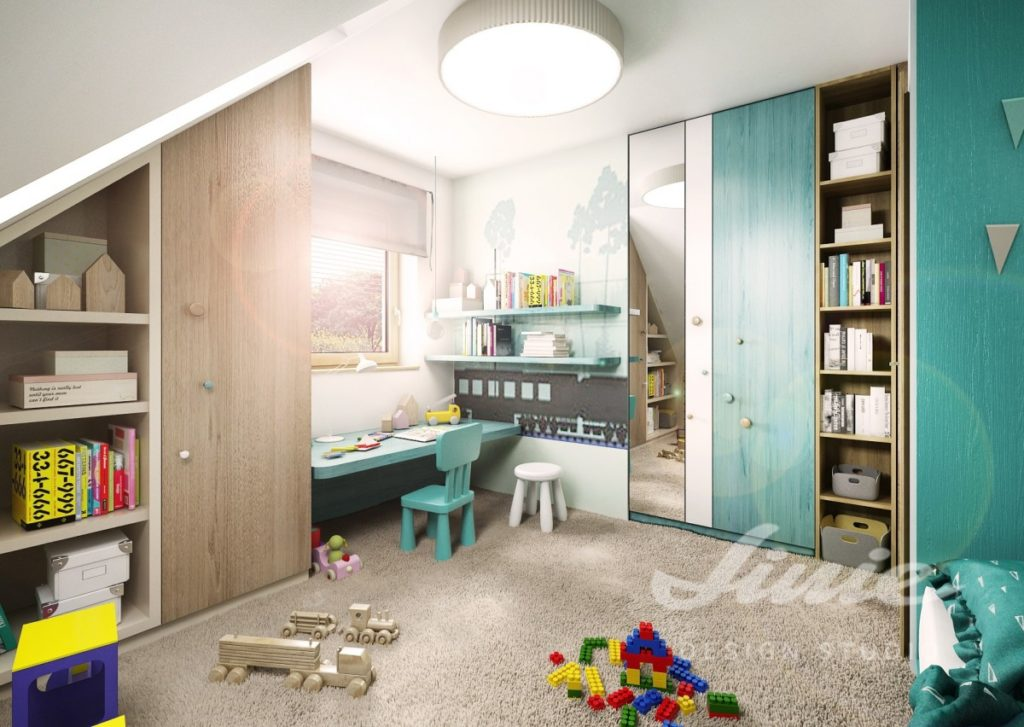 Dětský pokoj s tyrkysovými detaily