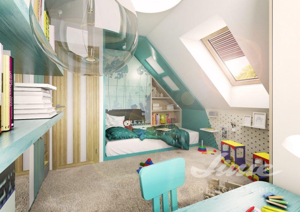 Studentský pokoj s prvky v pastelově tyrkysových odstínech