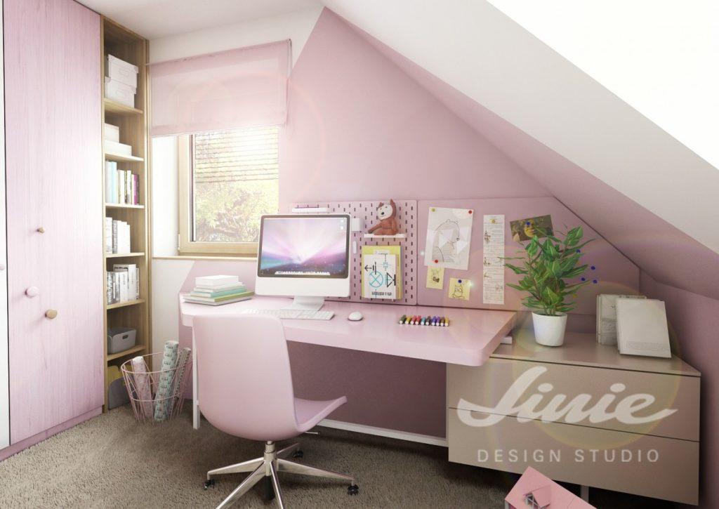 Studentský pokoj v růžové barvě