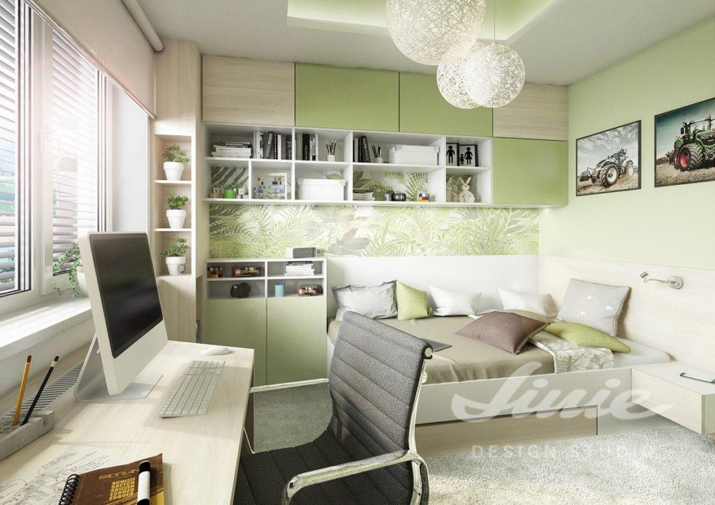 Studentský pokoj s hráškově zelenými prvky