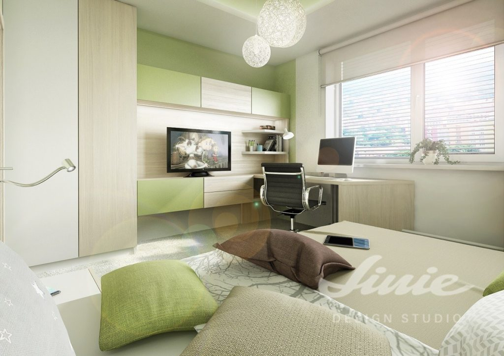 Studentský pokoj s dřevěnými prvky a zelenými detaily