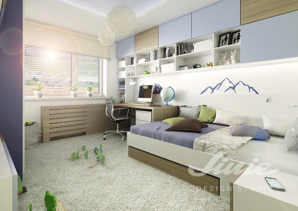 Studentský pokoj zařízený v modrých a bílých odstínech