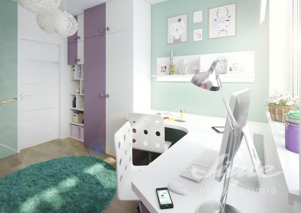 Dětský pokoj s fialovo bílou skříní